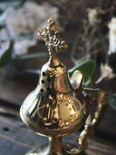 Brass Cross Flip Top Incense Burner