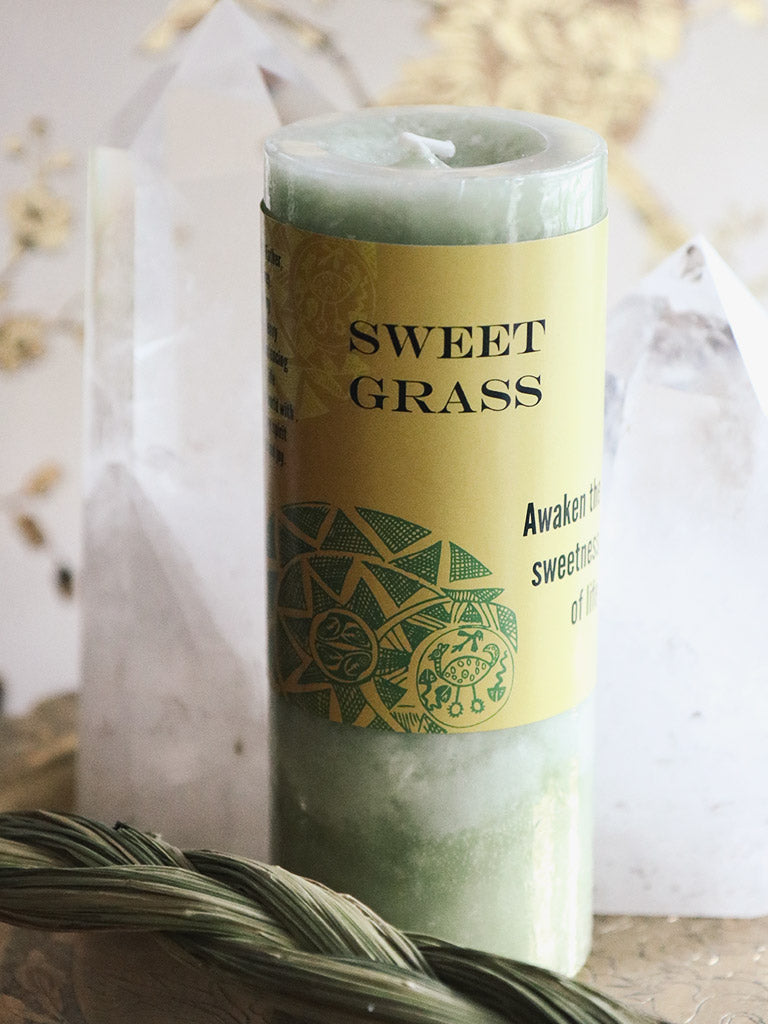 World Magic Sweetgrass Pillar Candle