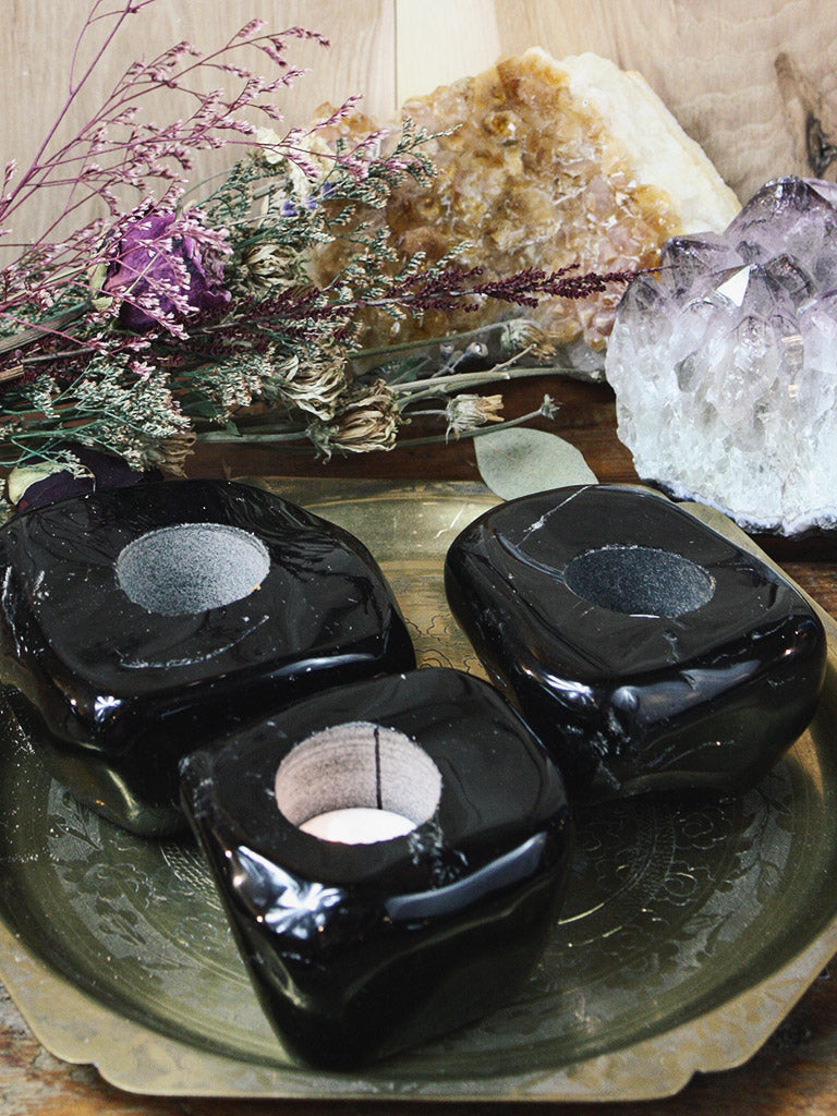 Black Obsidian Tea Light Holders