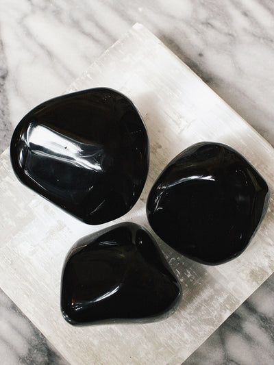 Extra Large Tumbled Black Obsidian