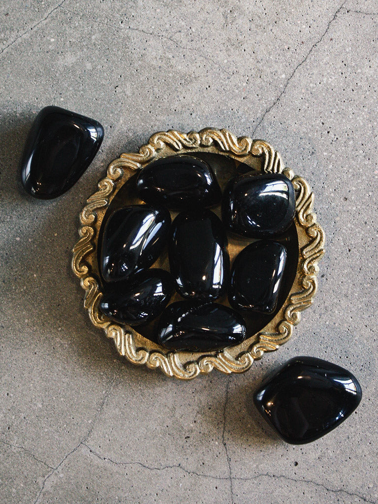 Large Tumbled Black Obsidian