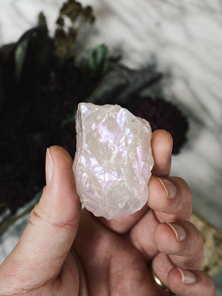 Rose Aura Quartz Pieces