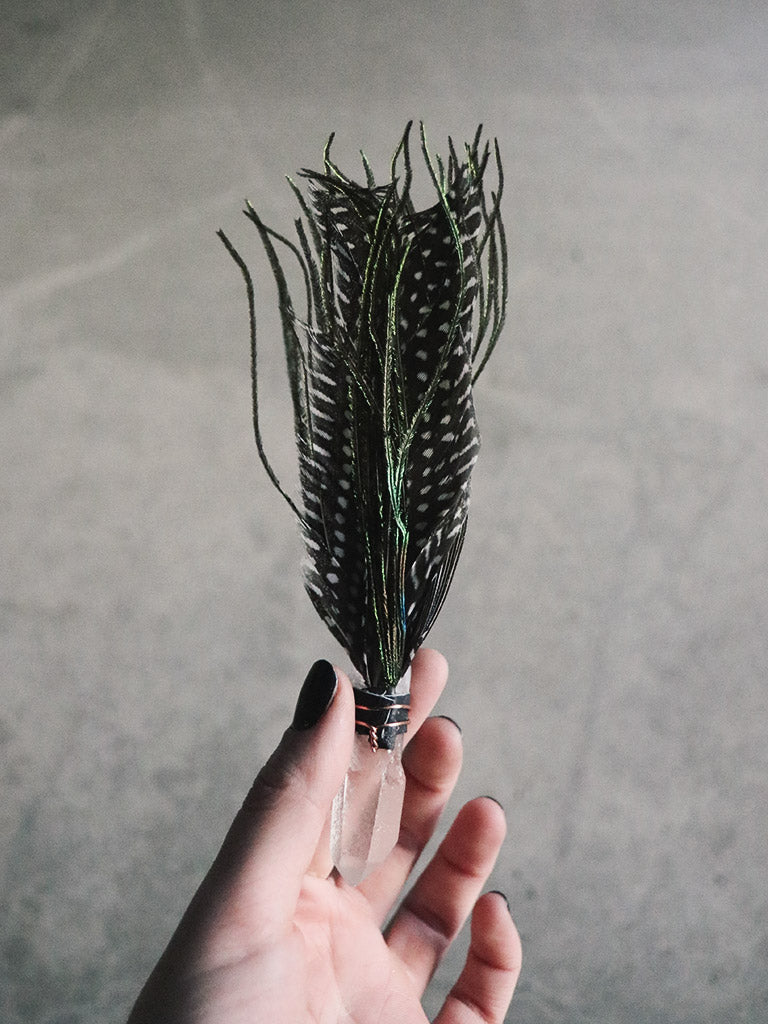 Quartz, Guinea + Peacock Smudge Feather