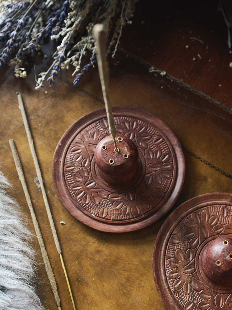 Gorgeous Round Wood Incense Burner