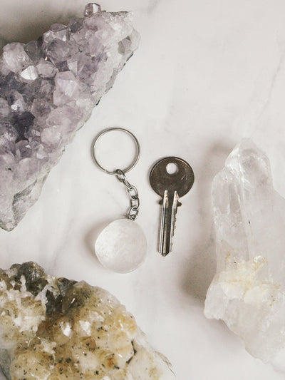 Tumbled Clear Quartz Key Chain