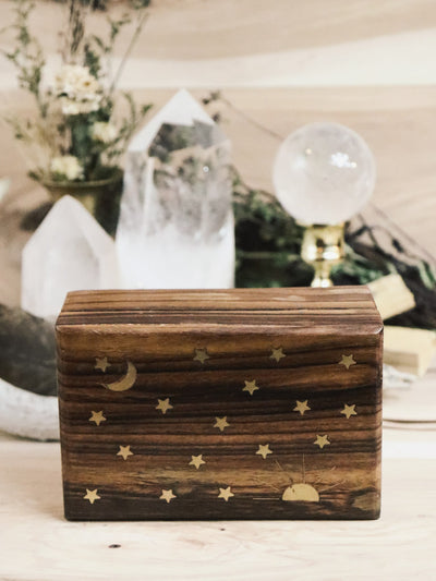 Moon and Stars Brass Inlay Box