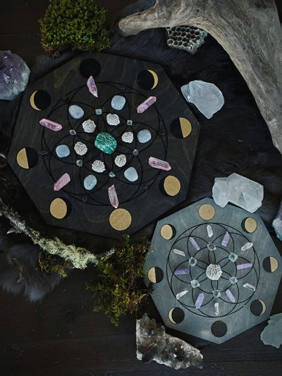 Moon Phase Seed of Life Crystal Grids