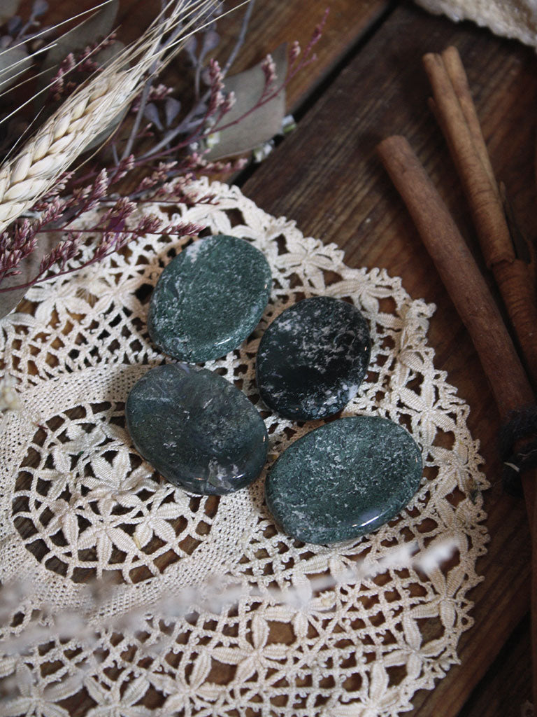 Moss Agate Pocket Stones