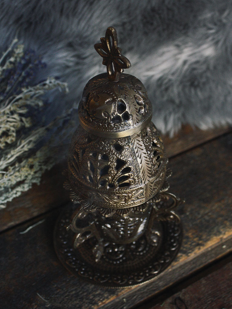 Ornate 3 Piece Brass Church Incense Burner