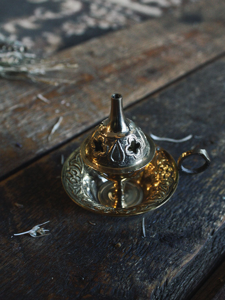 Ornate Brass Chamber Stick Cone Burner