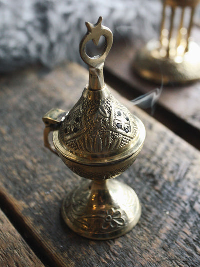 Ornate Flip Top Brass Incense Burner