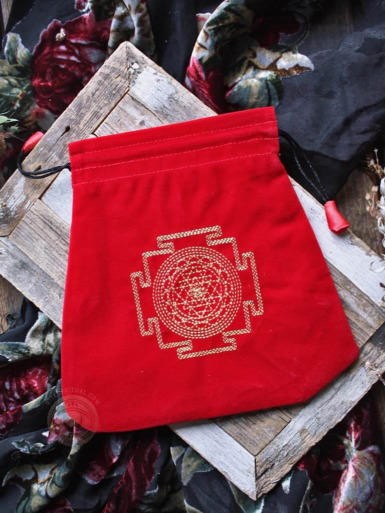 Protection Embroidered Velvet Tarot Bag