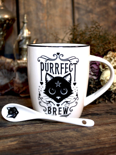 Purrfect Brew Mug + Spoon Set
