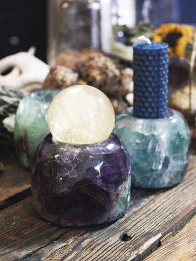 Rainbow Fluorite Candle Holders