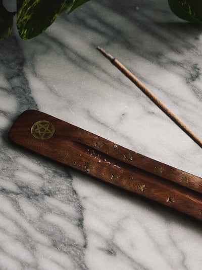 Brass Pentacle + Wood Incense Ash Catcher