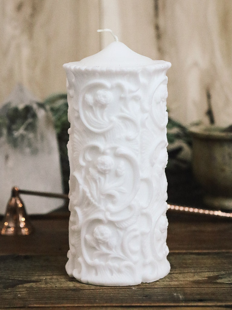 Carved Floral Pillar Candle