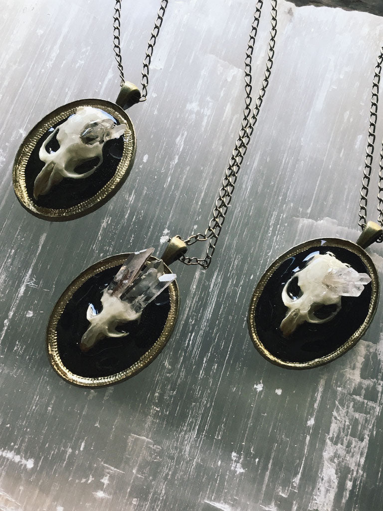 Rodent Skull + Crystals Pendant Necklace