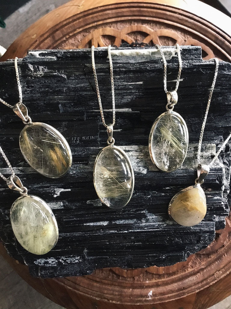 Rutilated Quartz Sterling Silver Necklaces
