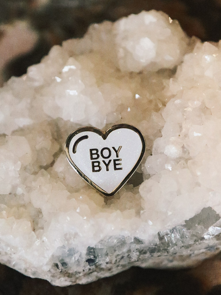 Boy Bye White Glitter Lapel Pin - Rite of Ritual