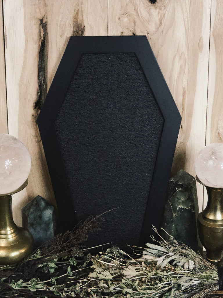 Black Coffin Cork Board
