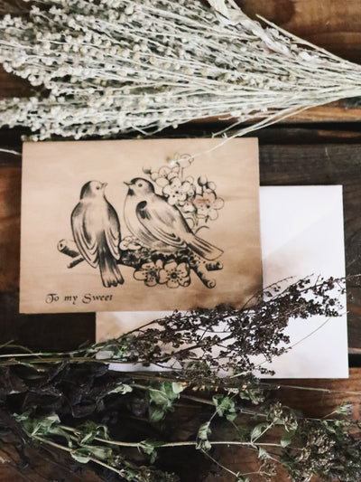 Birdies My Sweet Wood Folding Card - Rite of Ritual