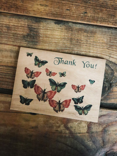 Butterfly Thank You Wood Folding Card - Rite of Ritual