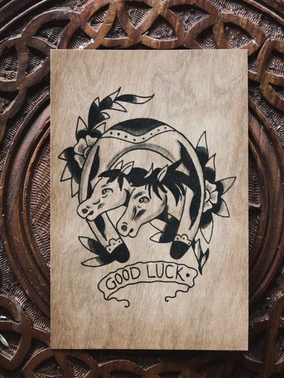 Good Luck Wood Postcard