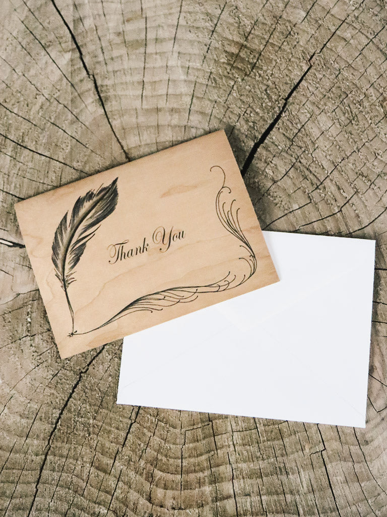 Quill Thank You Wood Folding Card