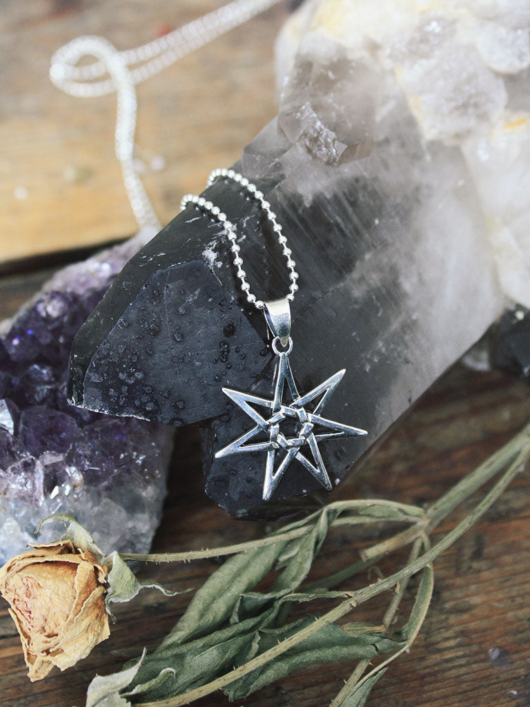Sterling Silver 7 Pointed Star Necklace