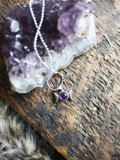 Sterling Silver Triple Goddess Amethyst Necklace