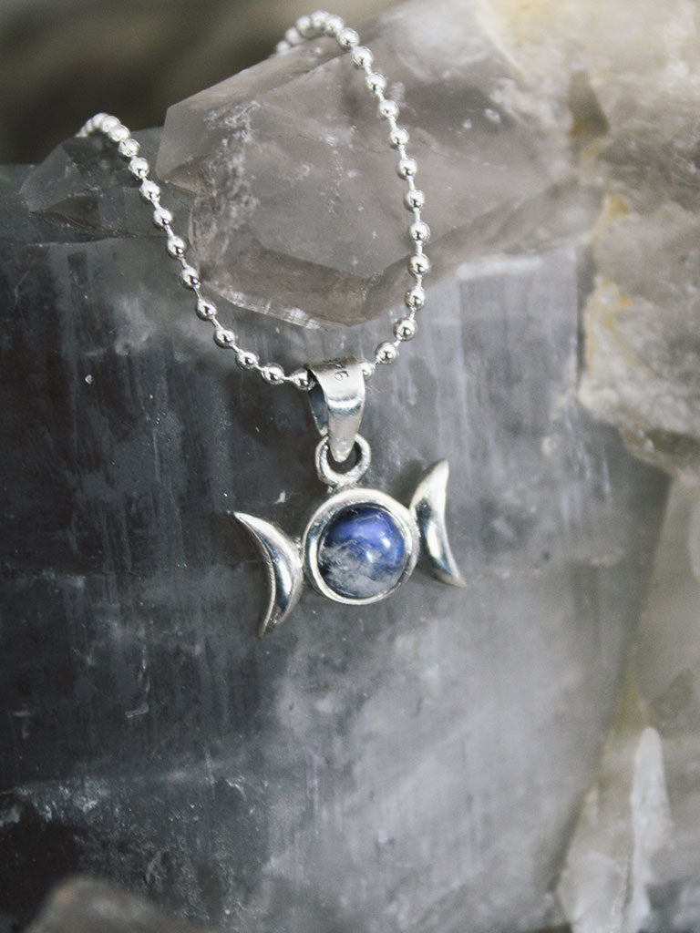 Sterling Silver Triple Goddess Moonstone Necklace