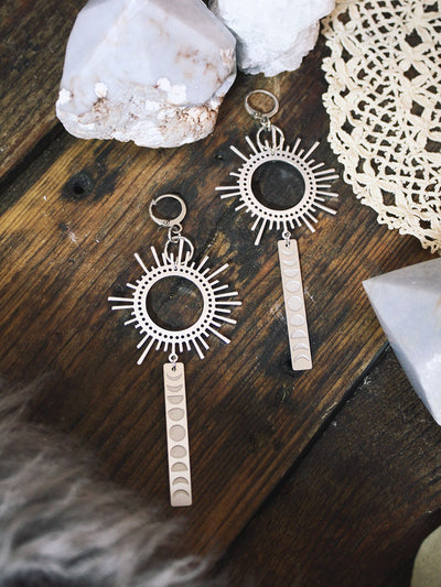 Sun + Moon Phase Statement Earrings