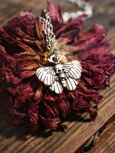 Sweet Skull Death Moth Necklace