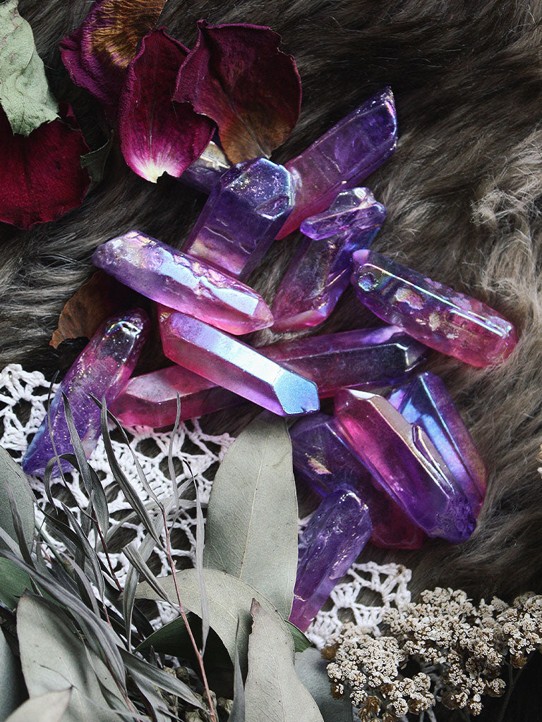 Tanzine + Rose Aura Quartz Points