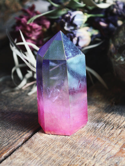 Tanzine and Rose Aura Quartz Generator - C476