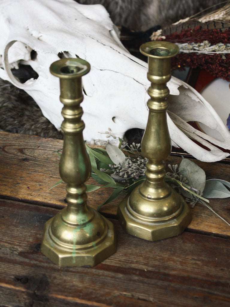 Vintage Brass Candle Holder Set - V173