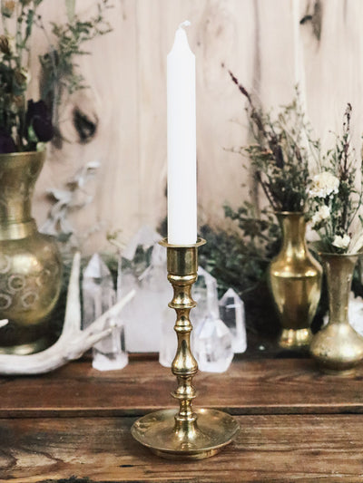 Elaborate Vintage Brass Single Candle Holder 2