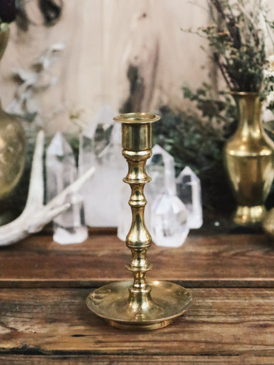 Elaborate Vintage Brass Single Candle Holder
