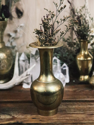 Wide Lip Vintage Brass Vase 3