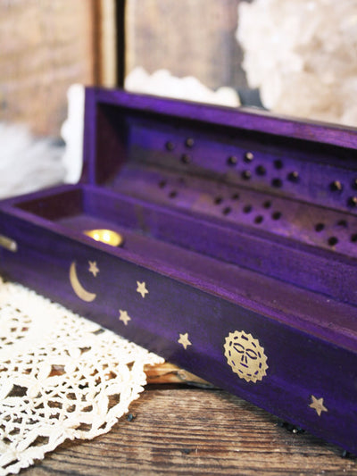 Violet Wood Moon Coffin Incense Box