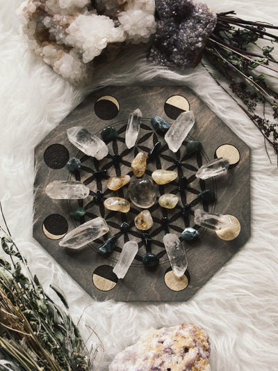 Moon Phase Flower of Life Crystal Grids