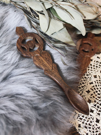 Wooden Triple Moon Altar Spoon