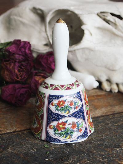 Yellow and Red Floral Porcelain Vintage Bell