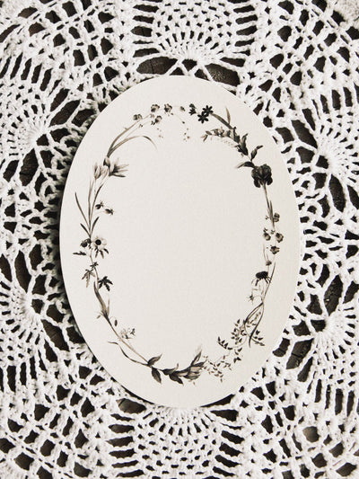 open sea dark florals oval card 1