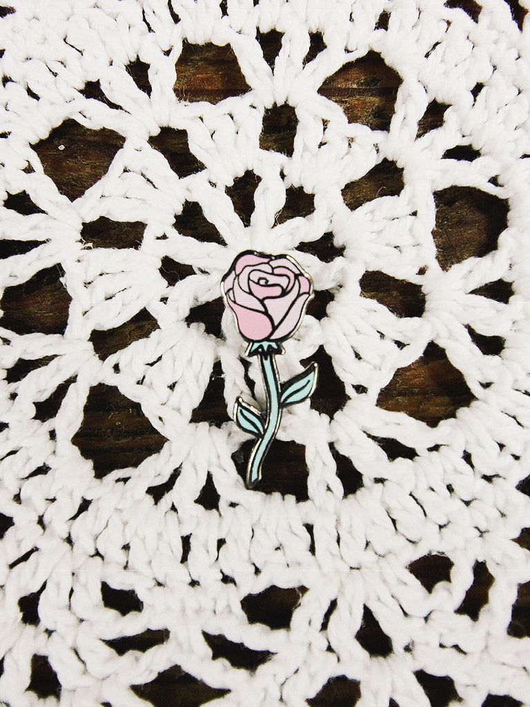 punky pins single pink rose enamel pin 1