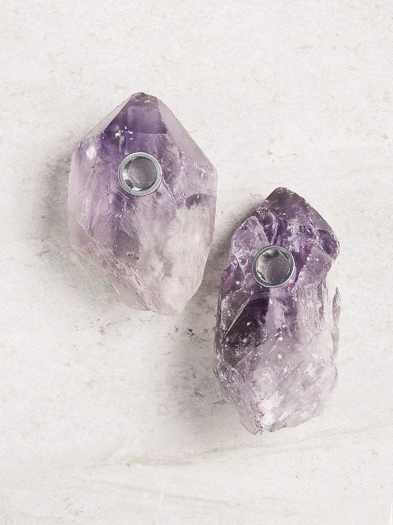 Raw Amethyst Point Pipes