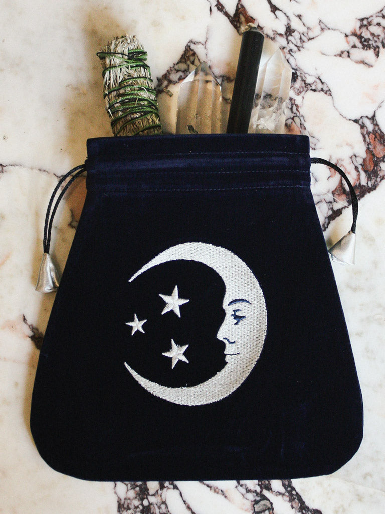 rite of ritual smiling moon embroidered tarot bag 1