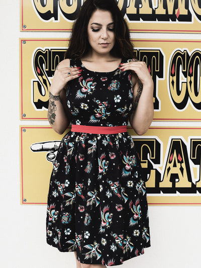 sourpuss birds of paradise shift dress 1