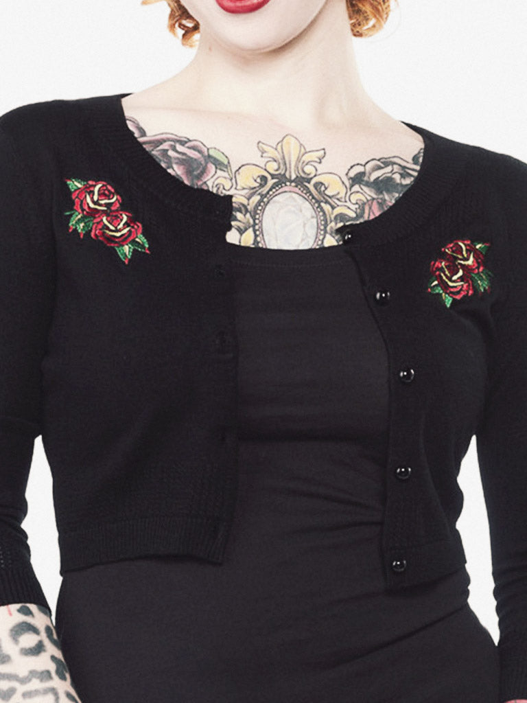 Tattoo Roses 3/4 Sleeve Pointelle Cardigan
