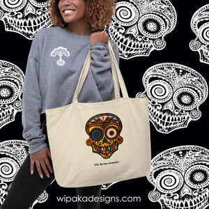 """Dia de los Muertos"" Large 100% organic cotton color canvas bag - Wipaka Designs"